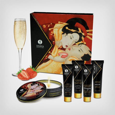 Coffret Shunga Sparkling strawberry wine – Coffret de massage Geisha