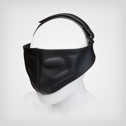 Masque sm Leather Blinding Mask Black, Accessoire sm Doc Johnson Kink
